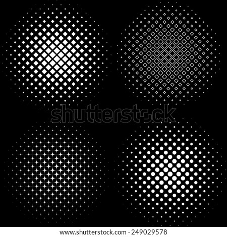 Halftone Frames: A set of 4 halftone frame patterns.  - stock vector