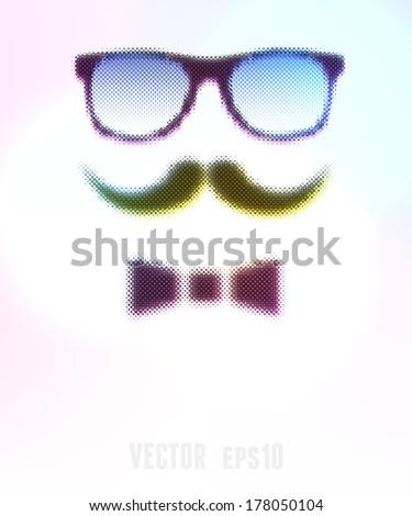 Halftone Glasses Background. Vector illustration, eps10, editable. - stock vector