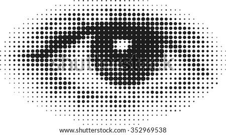 Halftone human eye - stock vector