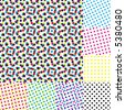 Halftone moire. Seamless vector wallpaper. All 8 samples of halftone is tiling seamlessly. - stock photo