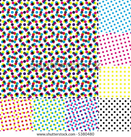 Halftone moire. Seamless vector wallpaper. All 8 samples of halftone is tiling seamlessly. - stock vector