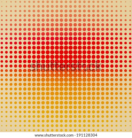 halftone of red and orange dots on a yellow background. vector illustration eps10  - stock vector