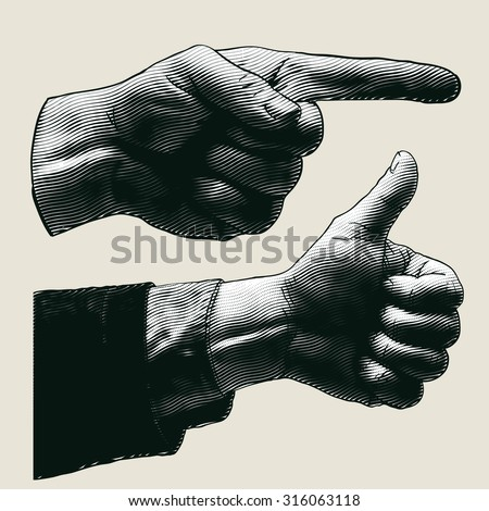 halftone pointing finger and thumbs up symbol. engraved style. vector illustration