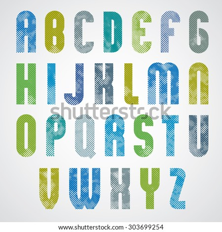 Halftone print dots textured bold font with rounded corners, uppercase letters, grunge aged macro style, geometric poster letters alphabet design.  - stock vector