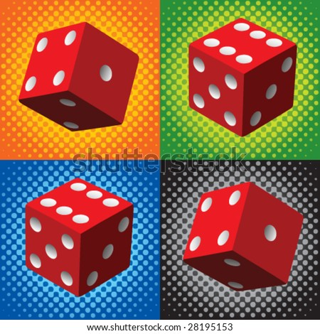 halftone red dice