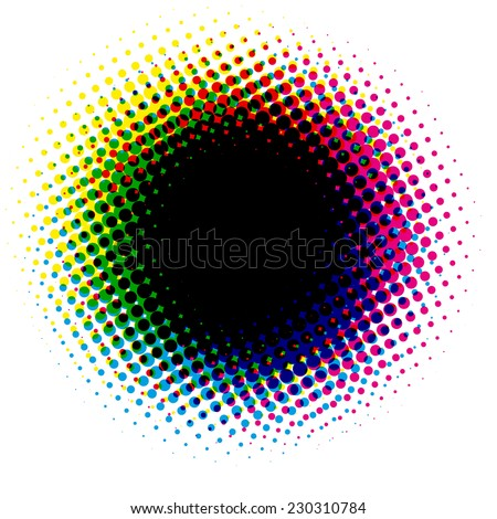 halftone round black background - stock vector