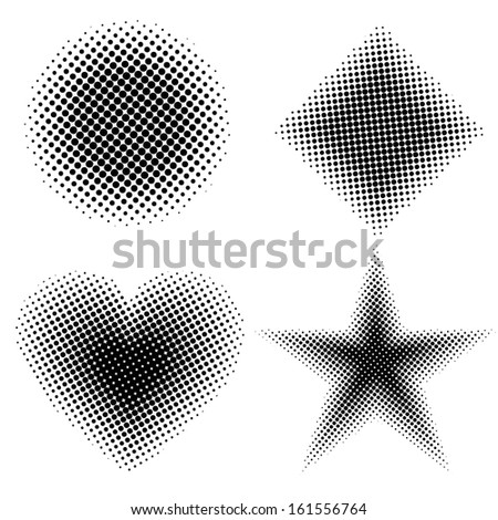 Halftone shapes - stock vector