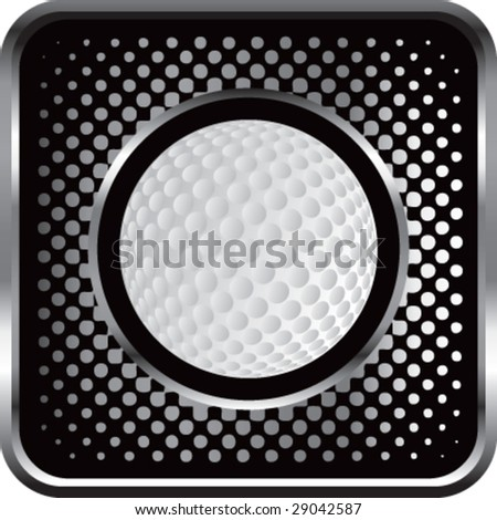 halftone silver button golf - stock vector