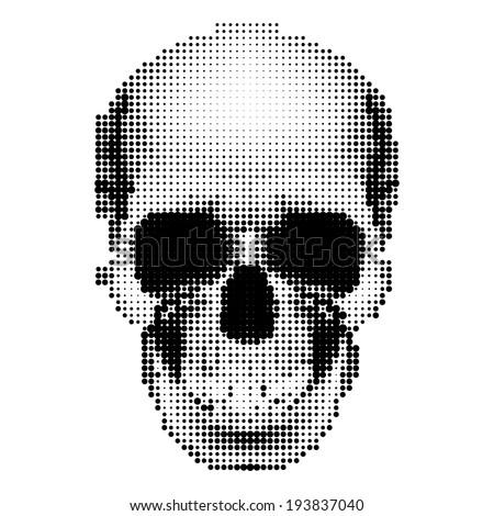 Halftone skull image in black and white. Danger sign - stock vector