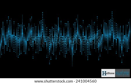Halftone sound wave pattern modern music design element - stock vector