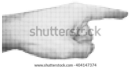 Halftone textured male hand pointing isolated on white background - stock vector