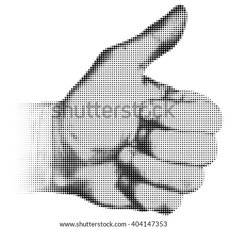 Halftone textured male thumb up isolated on white background