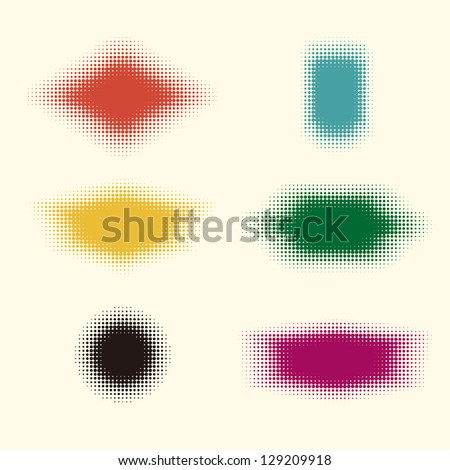 Halftone vector design elements. Abstract digital label (dotted design series) .You can use to enhance your slogan. - stock vector