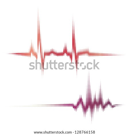halftone vector heartbeat sound waves. Music round waveform background. You can use in hospital, radio, pub, party, concerts, recitals or the audio technology advertising background. - stock vector