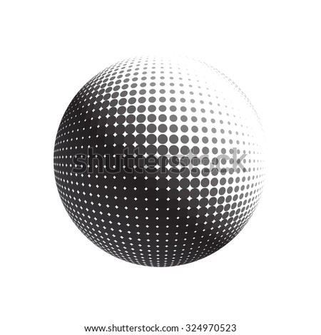 Halftone vector logo template. Isolated round icon, abstract globe symbol. Abstract black dotted sphere. Science and tourism, technology or financial background