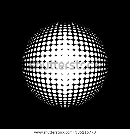 Halftone vector logo template. White round icon on black background, abstract globe symbol, business concept. Abstract white dotted sphere. Science and tourism, technology or financial background