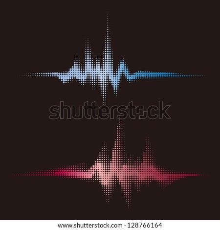 halftone vector sound waves. Music round waveform background. You can use in club, radio, pub, party, concerts, recitals or the audio technology advertising background. - stock vector