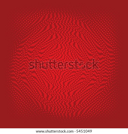 halftone vector swirl on a deep red background - stock vector