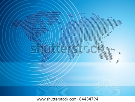 Halftone world map, perfect circles, center in the North America, eps10 vector illustration