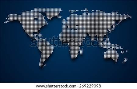 Halftone world map with shadow. Vector illustration.