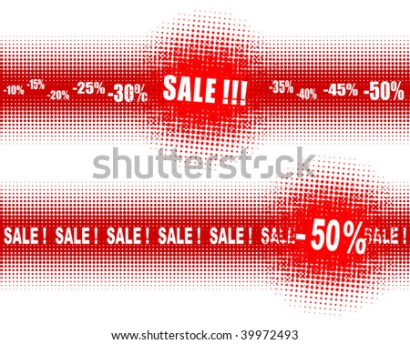 Halftones - banners for SALE - stock vector