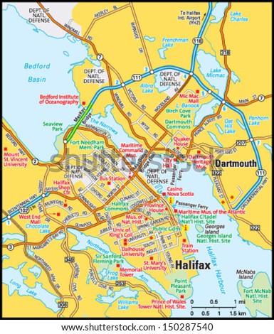 Halifax Nova Scotia Area Map Stock Vector HD Royalty Free