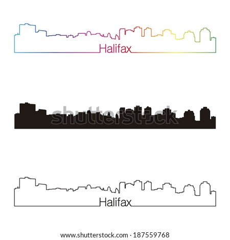 Halifax skyline linear style with rainbow in editable vector file