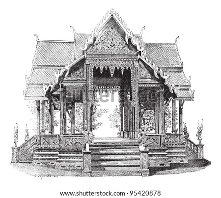 Hall of Siam, vintage engraved illustration. Dictionary of words and things - Larive and Fleury - 1895. - stock vector