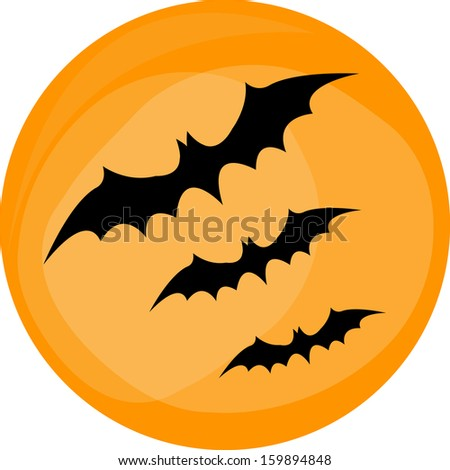 Hallaween bat to moon - stock vector