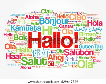 Hallo hello greeting german word cloud stock vector royalty free hallo hello greeting in german word cloud in different languages of the world m4hsunfo