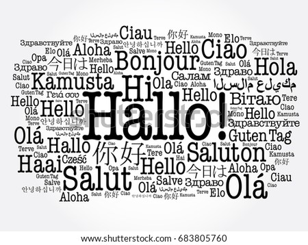 Hallo hello greeting german word cloud stock vector 683805760 hallo hello greeting in german word cloud in different languages of the world m4hsunfo
