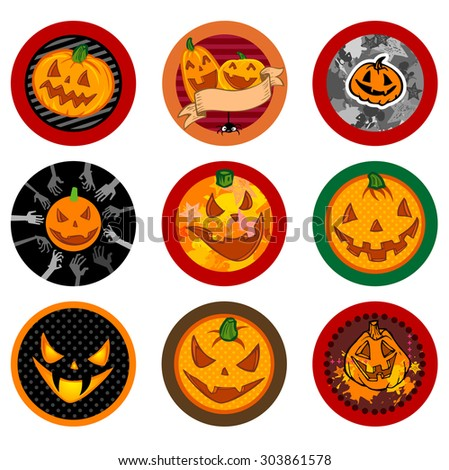 Hallooween Vector drink coasters with funny pumpkins for any party. - stock vector