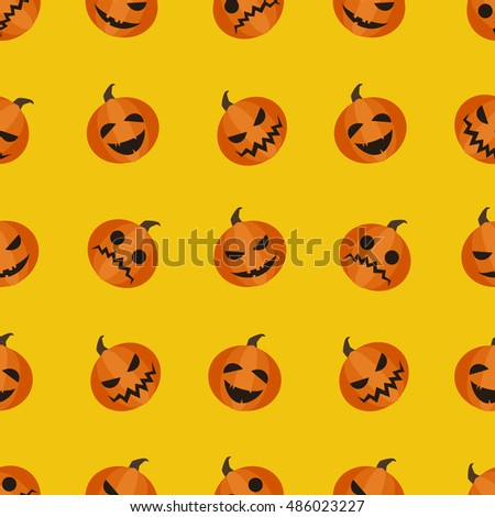 Halloween adorable seamless background. Pumpkin autumn harvest pattern isolated on yellow or orange background. Different facial expressions vector illustration.