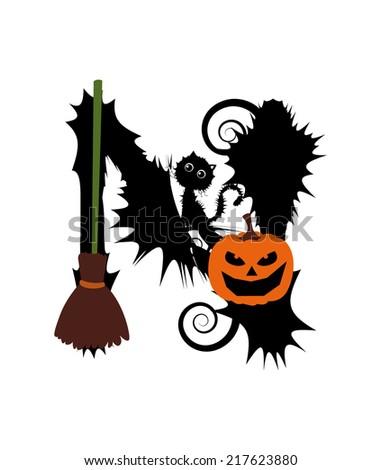 Halloween Alphabet Set Letters Pumpkin On Stock Vector 217623880 ...