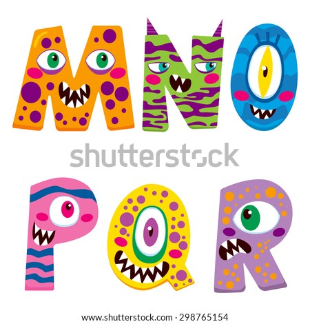 Halloween alphabet with funny m n o p q r monster characters - stock vector