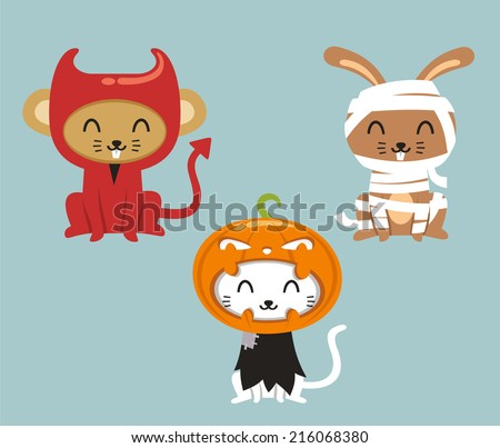 Halloween animals cat, hare and mouse in cartoon costumes - stock vector