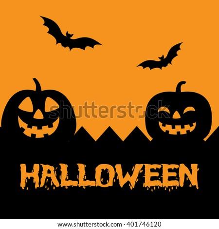 Halloween art with Pumpkins, Bats, and Orange Background.  - stock vector
