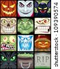 Halloween Avatars: Set of 12 Halloween square avatars. - stock vector