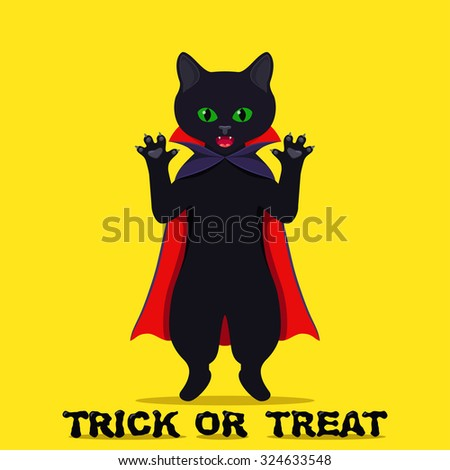 Halloween back cat  - stock vector