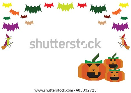 Halloween background bats witches and pumpkins on the white