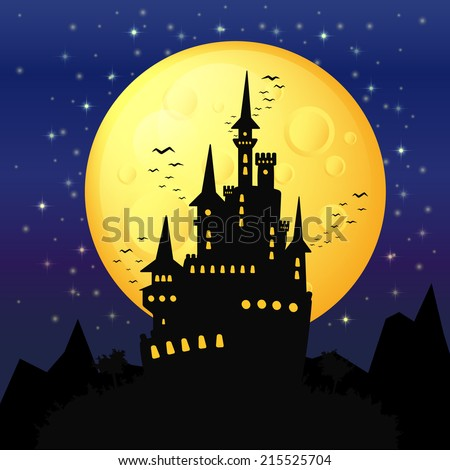 halloween background, black castle on the background of the full moon, gloomy background for halloween party invitations to the palace and bats - stock vector