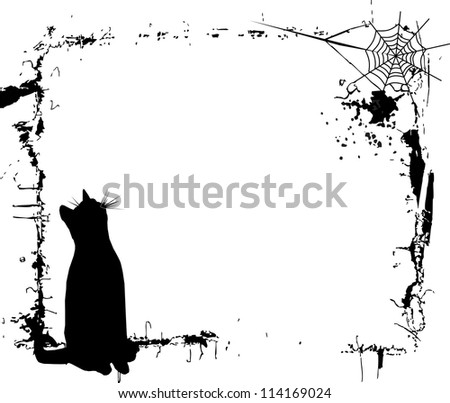 Halloween background  black cat frame - stock vector