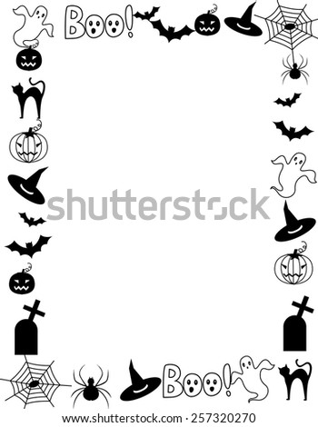 Halloween background / frame with happy Halloween text and Halloween themed cliparts  - stock vector