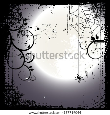 Halloween background. Full moon and a cobweb - stock vector
