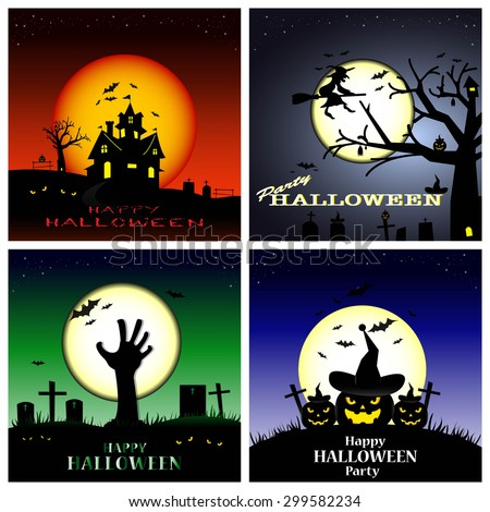Halloween background,Halloween set. - stock vector