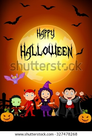 Halloween background. Happy little kids with costume