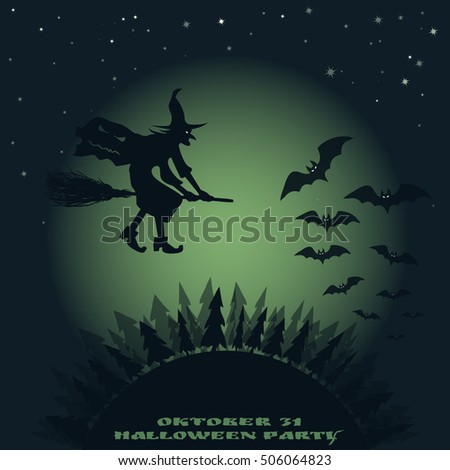 Halloween background. image of flying over the forest witch on a broomstick and bats on a background of the moon.