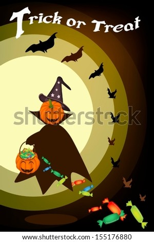Halloween Background of Jack-o-Lantern Pumpkin in Halloween Costume Holding Hand with Hard Candy Basket, Sign for Halloween Celebration  - stock vector