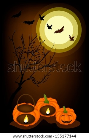 Halloween Background of Jack-o-Lantern Pumpkins and Pumpkin Baskets with Candle Light, Sign for Halloween Celebration  - stock vector