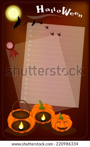 Halloween Background of Jack-o-Lantern Pumpkins and Pumpkin Baskets with Candle Light, Sign for Halloween Celebration.